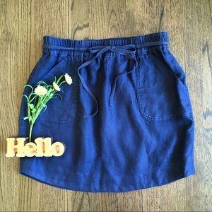 LOFT navy linen tie waist skirt